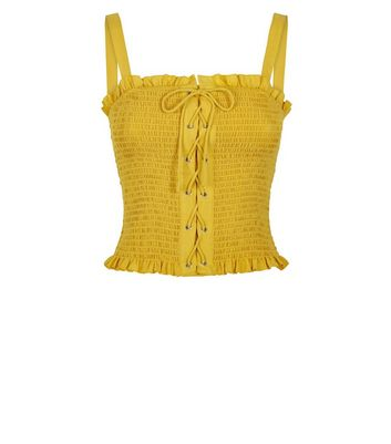 petite yellow lace up front cami new look
