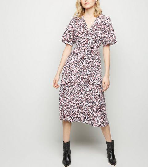 4b56b1f506 ... White Leopard Print Midi Wrap Dress ...