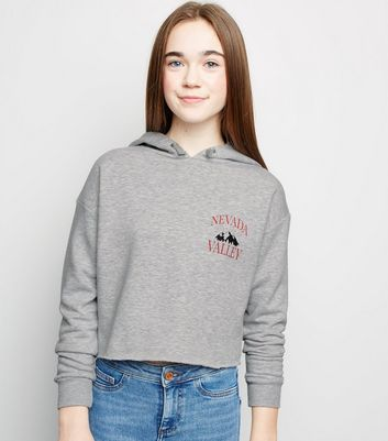 Girls Grey Nevada Valley Slogan Hoodie
