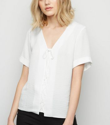 Tall Off White Lattice Front Shirt