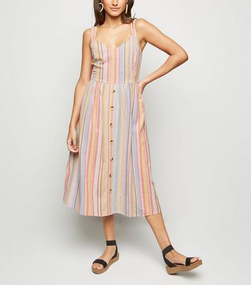 Pink Multi Stripe Button Front Midi Dress