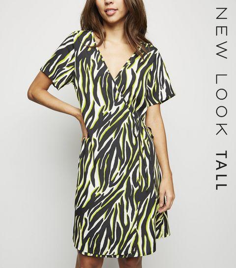 e1809538495c ... Tall Black Neon Zebra Print Wrap Dress ...