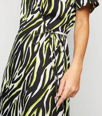 shop for Tall Black Neon Zebra Print Wrap Dress New Look at Shopo