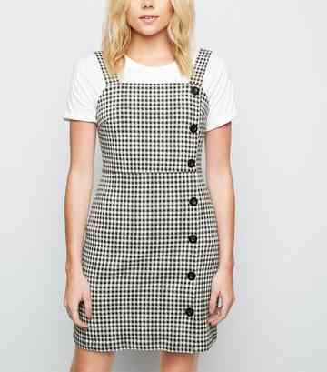 Black Gingham Button Side Pinafore Dress