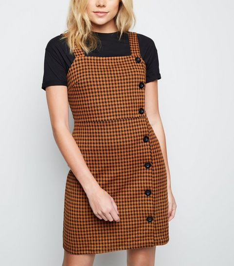 1b00cb2d85 ... Brown Gingham Button Side Pinafore Dress ...