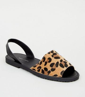 Stone Faux Leopard Fur 2 Part Flat Sandals