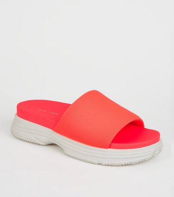 Coral Neon Chunky Sole Sporty Footbed Sliders