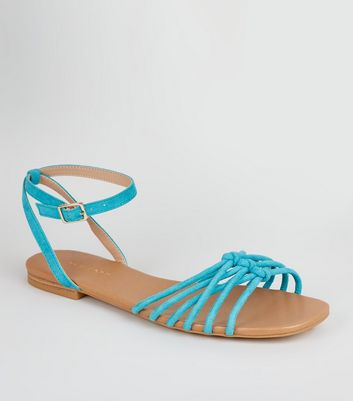 Teal Suedette Knot Front Strap Sandals