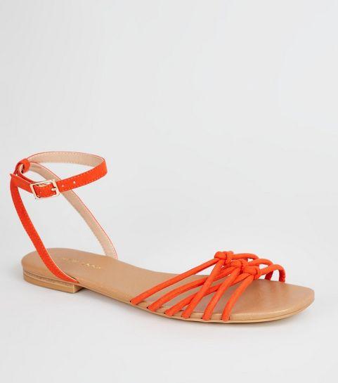 80d6a69211c ... Orange Suedette Knot Front Strap Sandals ...