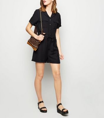 Black Revere Collar Utility Playsuit