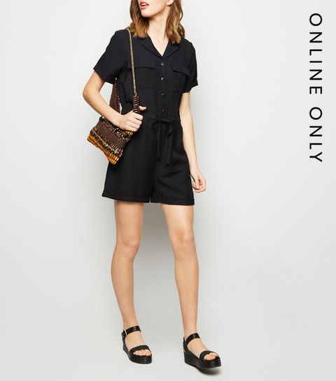 b507eee7e68 Black Revere Collar Utility Playsuit · Black Revere Collar Utility Playsuit  ...