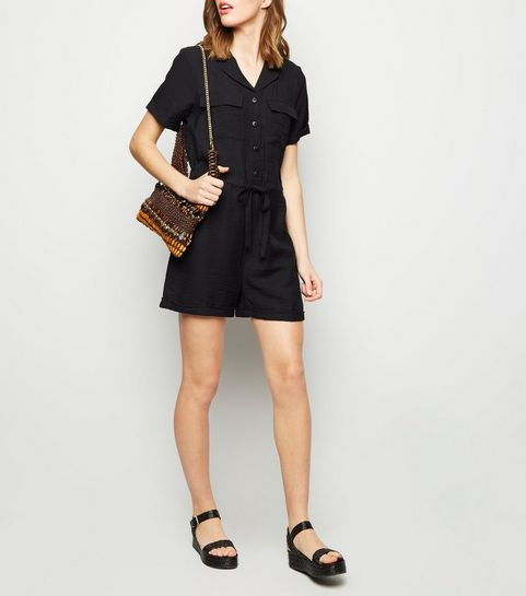 39f1daf1fcec Black Revere Collar Utility Playsuit · Black Revere Collar Utility Playsuit  ...