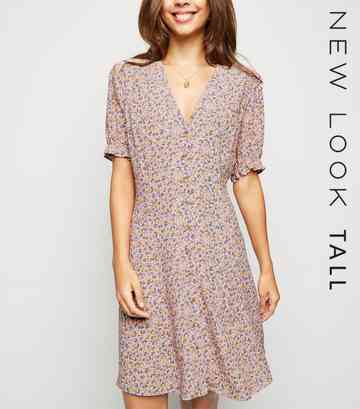 Tall Pink Ditsy Floral Tea Dress