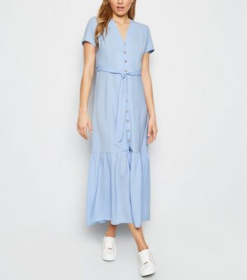 Pale Blue Herringbone Tiered Button Front Midi Dress