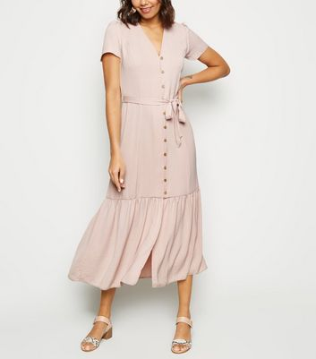 Pale Pink Herringbone Tiered Button Front Midi Dress