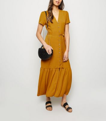 Mustard Herringbone Tiered Button Front Midi Dress