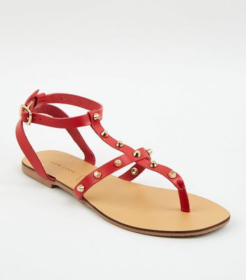 Red Leather Stud Strap Sandals
