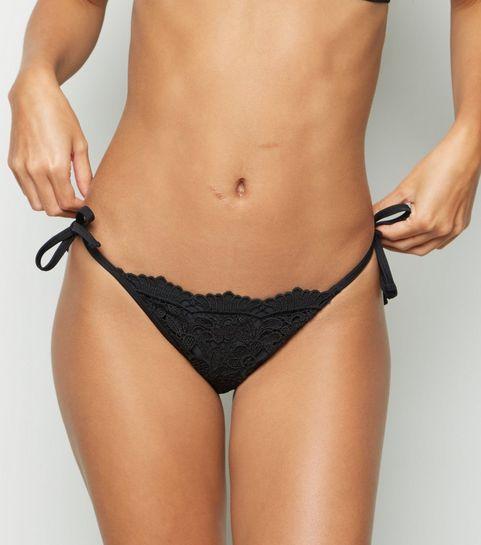 16d2d2bd95 ... Black Lace Tie Side Bikini Bottoms ...