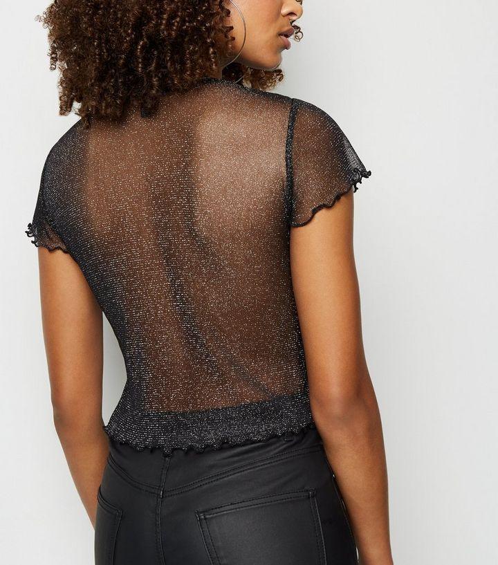 91a3f3d89e4abf ... Black Glitter Mesh Frill Trim T-Shirt. ×. ×. ×. Shop the look