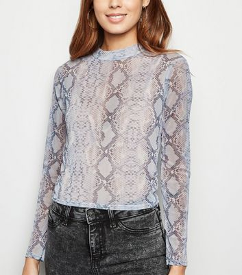 Blue Snake Print High Neck Mesh Top