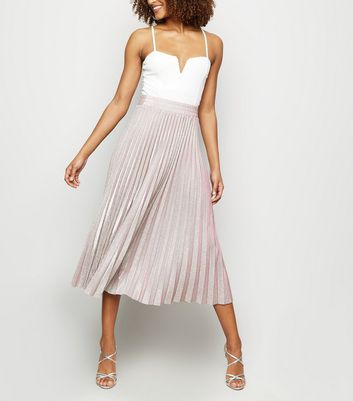 Pink Glitter Pleated Midi Skirt