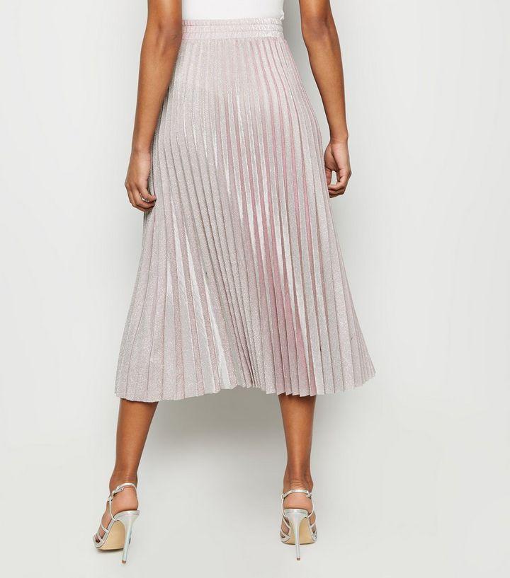 c283d30e2 Pink Glitter Pleated Midi Skirt | New Look
