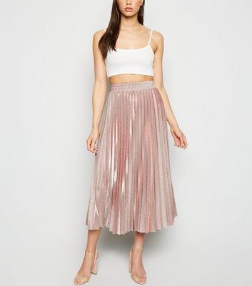 Bronze Glitter Pleated Midi Skirt