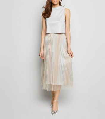 Cream Glitter Tulle Pleated Midi Skirt