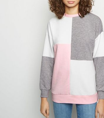 Pink Patchwork Colour Block Sweatshirt