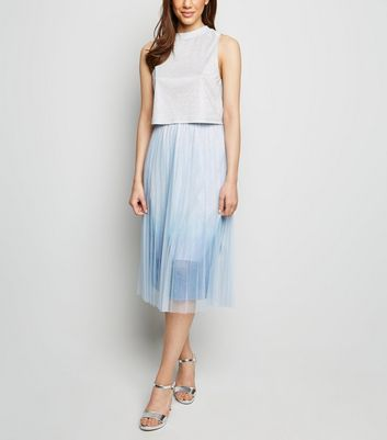 Pale Blue Ombré Pleated Midi Skirt by New Look