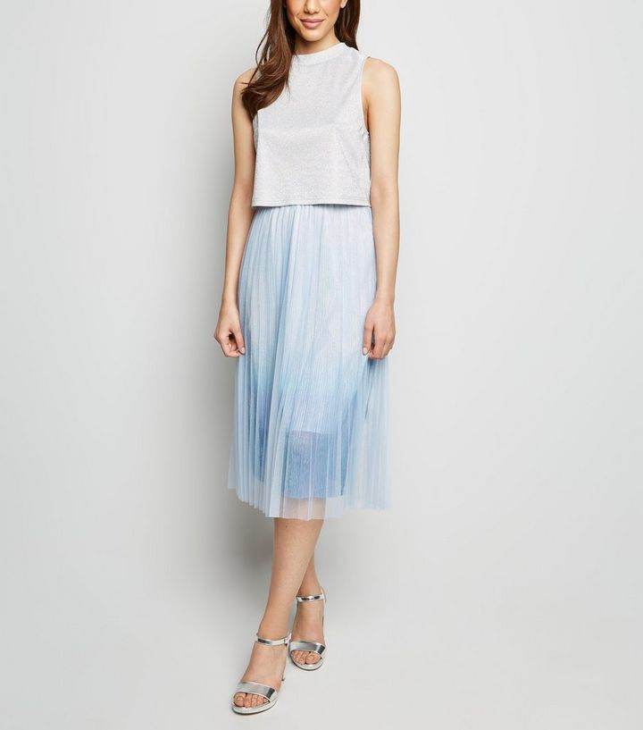 85986b52bc Pale Blue Ombré Pleated Midi Skirt | New Look