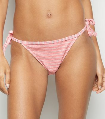 Bright Pink Stripe Crinkle Tie Side Bikini Bottoms