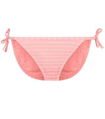 22e238732c43a Bright Pink Stripe Crinkle Tie Side Bikini Bottoms