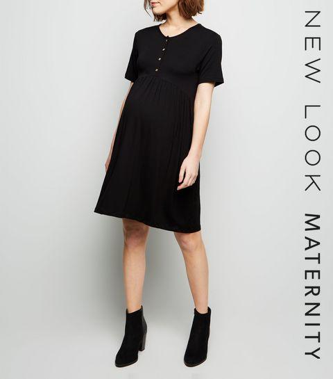889e0a28e98 ... Maternity Black Button Front Nursing Smock Dress ...