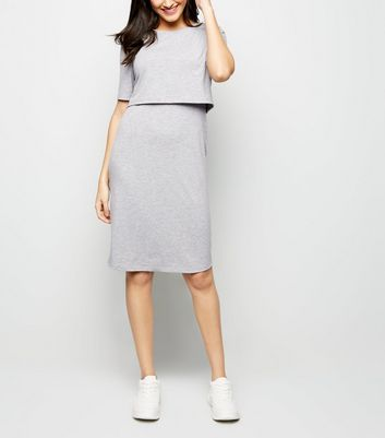 Maternity Grey Nursing Midi Dress