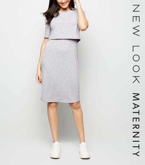 8c7bbf80b6004 Maternity Grey Nursing Midi Dress · Maternity Grey Nursing Midi Dress ...