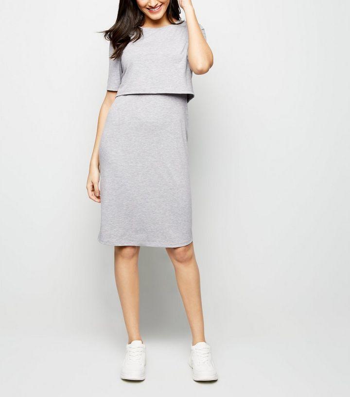 85be40f5369 Maternity Grey Nursing Midi Dress | New Look