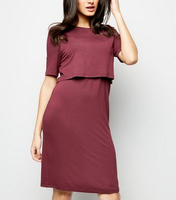 Maternity Burgundy Nursing Midi Dress