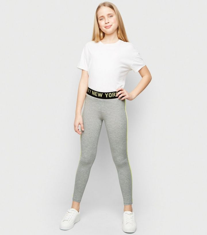 e759c0c0c5338 Girls Grey Neon New York Side Piped Leggings | New Look