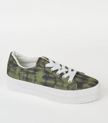 Green Camo Print Lace Up Flatform Trainers