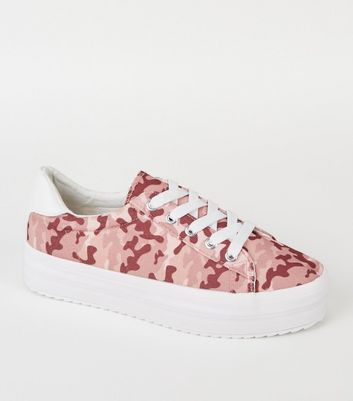 Pink Camo Print Lace Up Flatform Trainers