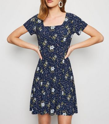Blue Vanilla Navy Floral Square Neck Swing Dress