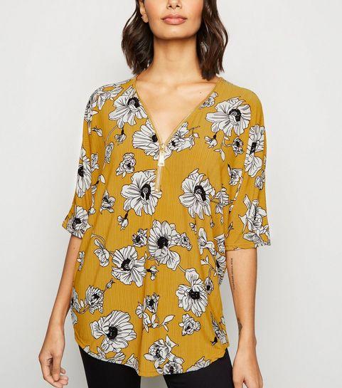 ded937166df50 ... Blue Vanilla Mustard Floral Zip Front Top ...