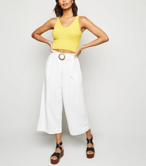 4adce5f813dc ... Off White Linen Look Crop Trousers ...