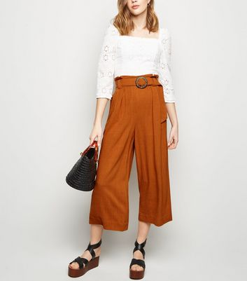 Rust Linen Look Crop Trousers