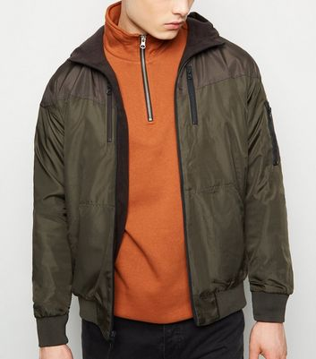 Dark Green and Grey Colour Block Reversible Bomber Jacket