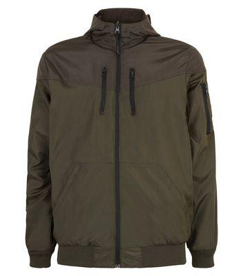 Dark Green and Grey Colour Block Reversible Bomber Jacket New Look