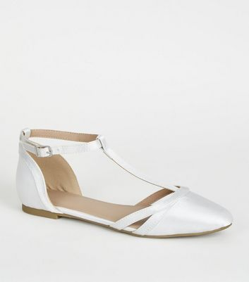 Girls Off White Satin T-Bar Pumps