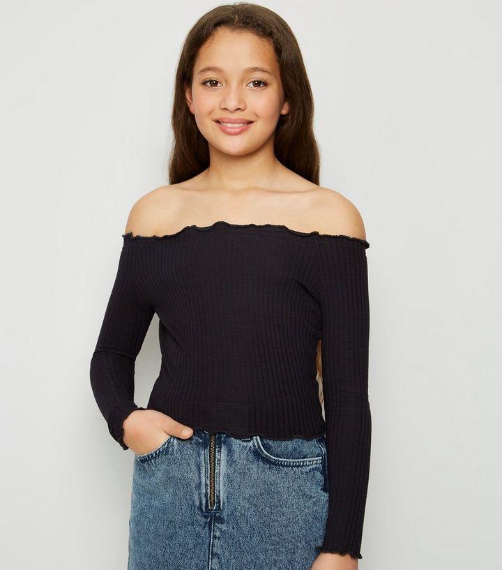 ff188c02488 Black Long Sleeve Frill Trim Bardot Top | New Look