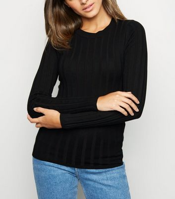 Black Ribbed Crew Neck Jumper